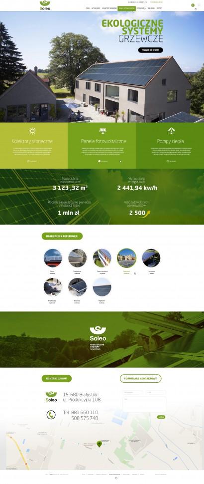 Odświeżenie strony internetowej dla firmy Soleo – Kolektory Słoneczne – Panle PV – Pompy Ciepła